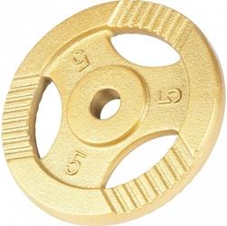 5 kg obciążenie żeliwne z uchwytem złote
