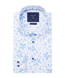 Przewiewna biała koszula profuomo slim fit w rośliny 37