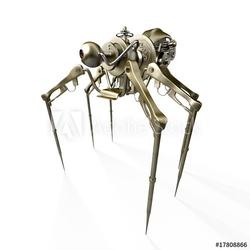 Obraz na płótnie canvas czteroczęściowy tetraptyk robot - pająk - szpieg