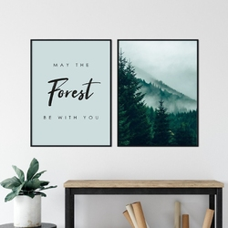 Zestaw dwóch plakatów - may the forest be with you , kolor ramki - biały, wymiary - 70cm x 100cm 2 sztuki