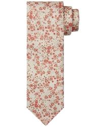 Elegancki beżowy krawat jedwabny w różowe kwiaty
