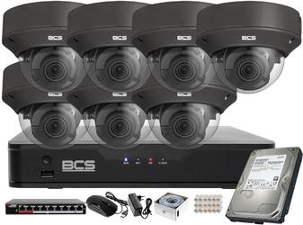 Monitoring wideo audio kasy stacji paliw sklepu bcs point rejestrator ip 7x kamera bcs-p-242r3wsa-g akcesoria