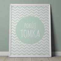 Pokój quot;imię dzieckaquot; miętowy - personalizowany plakat w zygzaki , wymiary - 20cm x 30cm, kolor ramki - czarny