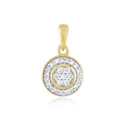 Staviori Wisiorek. 26 Diamentów, szlif brylantowy, masa 0,18 ct., barwa H, czystość SI2. Żółte Złoto 0,585. Średnica około 10 mm.