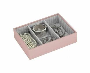 Pudełko na biżuterię 3 komorowe classic Stackers różowe