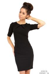 Czarna Elagancka Sukienka z Zakładkami przy Dekolcie