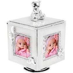 Karuzela miś z pozytywką, szkatułką i miejscem na 4 zdjęcia na chrzest roczek dedykacja - prełowy