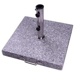 Stojak na parasole 40 kg granitowo-szary cętkowany kwadrat 50x 50 cm z rolkami uchwytu