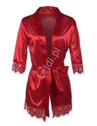 Czerwony satynowy szlafrok z koronką na rękawie r180002
