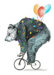Niedźwiedź na rowerze - plakat Wymiar do wyboru: 40x50 cm