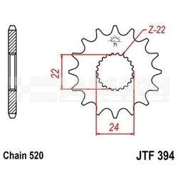 Zębatka przednia jt f394-16, 16z, rozmiar 520 2200666 aprilia rs 125, af1 125
