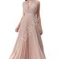 Długa plisowana zmysłowa suknia pudrowy róż z mieniącymi się opiłkami, lurex goddiva 2496