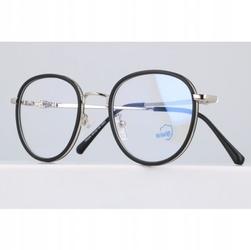 Okulary lenonki filtr światła niebieskiego blue light do komputera zerówki 2548-1 srebrno-czarne