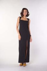 Czarna maxi letnia sukienka z prostokątnym dekoltem