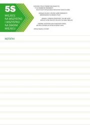 Tablica suchościeralna lean zasady 5s z notatnikiem 064