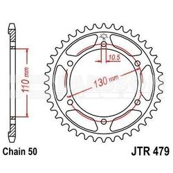 Zębatka tylna stalowa jt 479-44, 44z, rozmiar 530 2301422 yamaha mt-01 1700