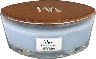 Świeca hearthwick flame woodwick soft chambray