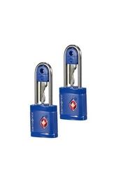 Dwie niebieskie kłódki zabezpieczająca na klucz z systemem tsa - midnight blue