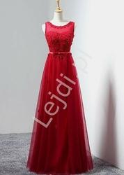 Delikatna kwiecista tiulowa sukienka na wesela w kolorze wina, studniówki, sylwestra | szyfonowe 3d kwiatki z perełkami kirsten