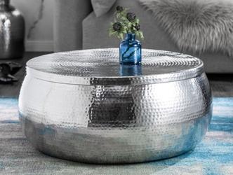 Srebrny stolik kawowy orient z młotkowanego aluminium  70x30x70 cm