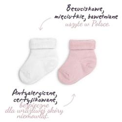 Skarpetki bezuciskowe 2 pary colorstories białe i różowe - białe i różowe