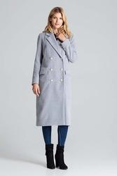 Szary długi klasyczny płaszcz z dwurzędowym zapięciem