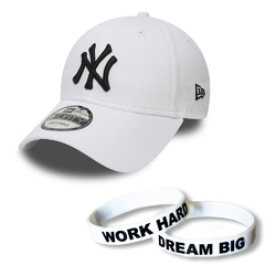 Czapka new era 9forty ny yankees strapback + opaska work hard dream big