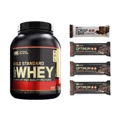 Zestaw optimum nutrition whey gold standard 2270g + 3x optimum protein bar 60g + protein crisp bar 65g