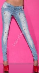 Jasnoniebieskie jeansy z kryształkami i sztucznymi perełkami k-93