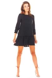Czarna Trapezowa Sukienka Mini z Rękawem 34
