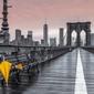 New York Brooklyn Bridge Żółta Parasolka - plakat