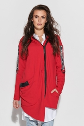 Rozpinana bluza z asymetrycznym - czerwona