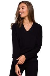 Dzianinowy sweterek z dekoltem v - czarna