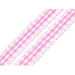 Ozdobna wstążka w kratkę 10mm1m - różowa - róż