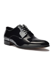 Eleganckie czarne skórzane buty męskie do smokingu - lakierki 43,5