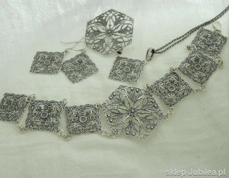 Jolan - srebrny ażurowy komplet biżuterii