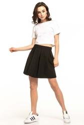 Czarna krótka spódnica z głębokimi zakładkami