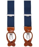 Niebieskie męskie szelki do spodni z jasnobrązowym zapięciem na guziki lub klipsy