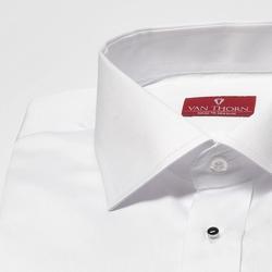 Elegancka biała koszula smokingowa z krytą listwą i czarnymi zapinkami 44