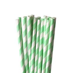 Słomki papierowe j.zielono-białe paski