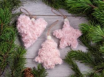 Dekoracja  ozdoba  zawieszka świąteczna pluszowa różowa boże narodzenie altom design 3 wzory