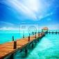 Fototapeta urlop w tropikach raj. jetty na isla mujeres, meksyk