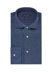 Elegancka niebieska koszula męska z dzianiny slim fit 42