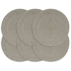 Vidaxl maty na stół, 6 szt., gładkie, szare, 38 cm, okrągłe, bawełna