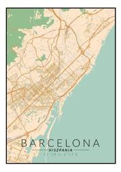 Barcelona mapa kolorowa - plakat wymiar do wyboru: 70x100 cm