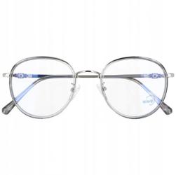 Okulary lenonki filtr światła niebieskiego blue light do komputera zerówki 2548-2 srebrno-szare