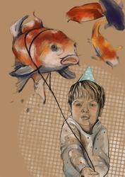 Chłopiec z balonikiem - plakat wymiar do wyboru: 42x59,4 cm