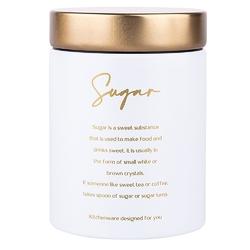 Puszka  pojemnik na herbatę ze złotą pokrywą altom design biała, dek. sugar