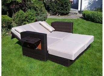 Rozkładana sofa ogrodowa otylia technorattan brązowa