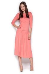 Różowy komplet bluzka z rękawem 34 i spódnica midi